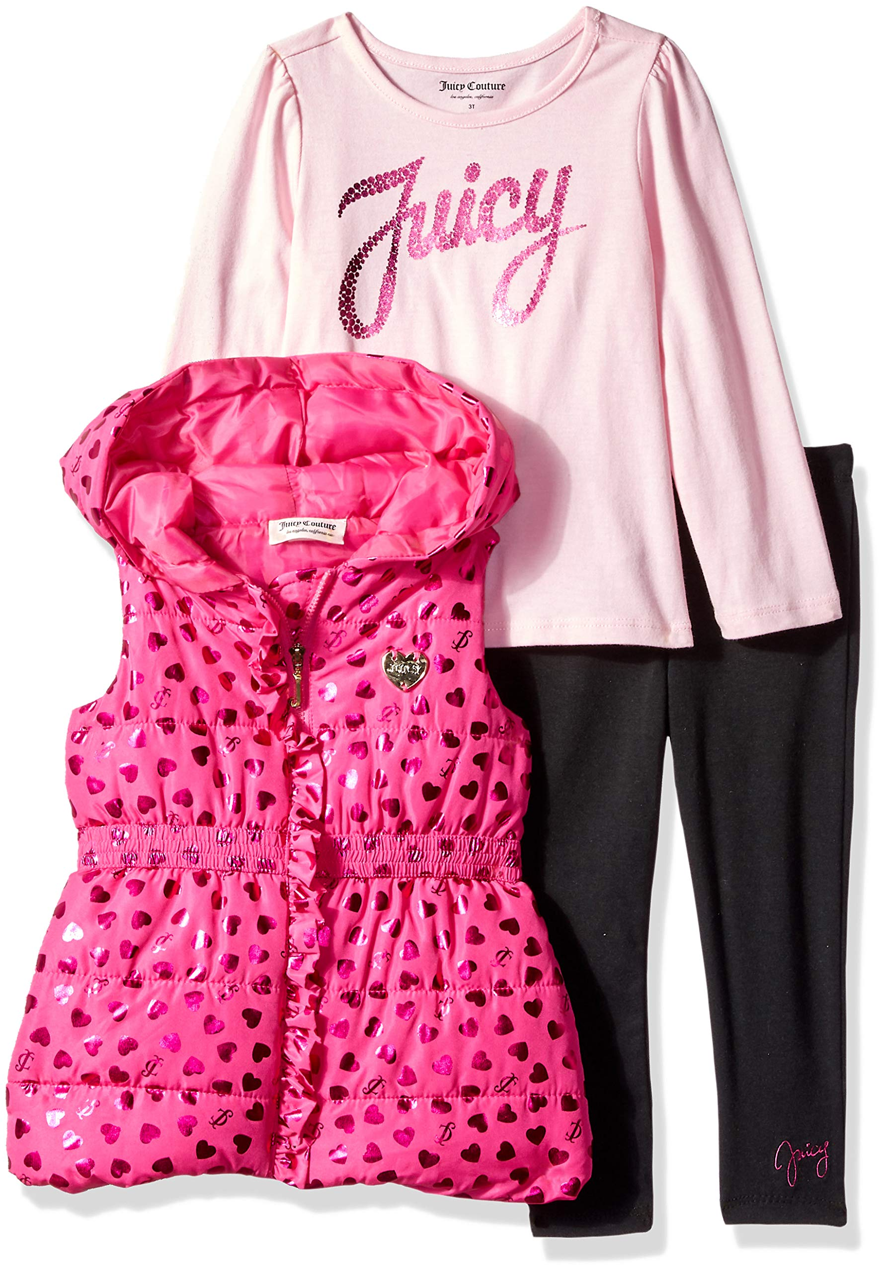 Juicy Couture Girls' Little 3 Pieces Puff Vest Set, hot Pink/Black 4