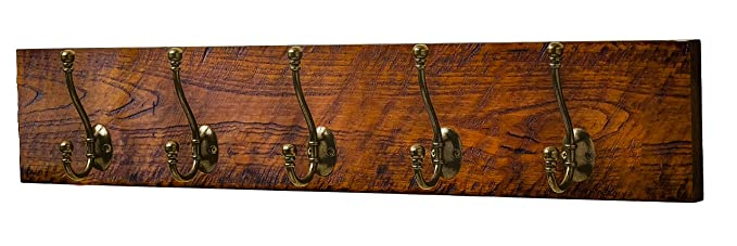 Perchero de 5 ganchos), estilo rústico de madera: Amazon.es ...