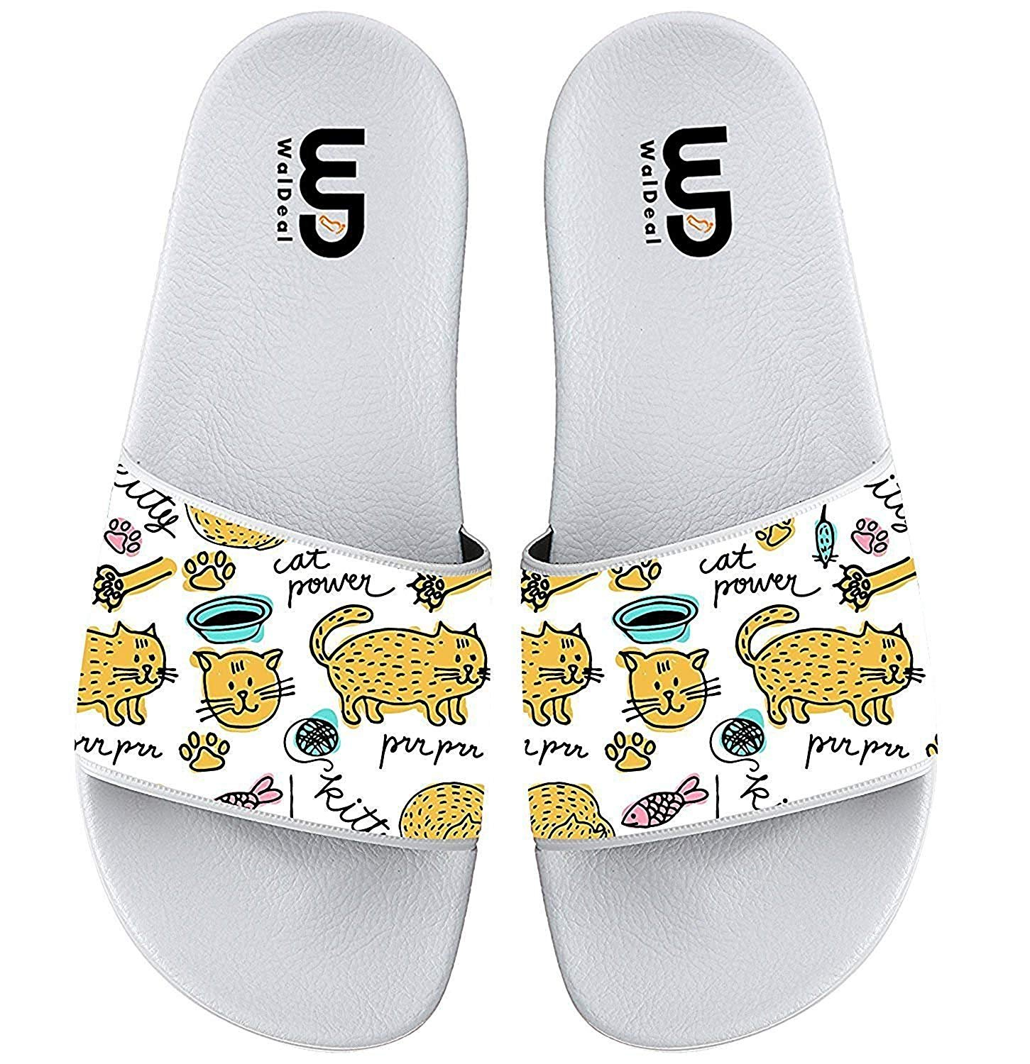 Cartoon Cute Hand-Painted Cat Print Summer Slippers for Boy & Girl Indoor Outdoor Beach Casual Shoes