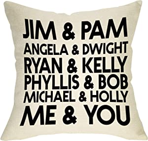 "Softxpp Jim & Pam The Office Funny Pillow Cover TV Show Lover Decor Lover Cushion Case Decorative for Sofa Couch 18"" x 18"" Inch Cotton Linen"