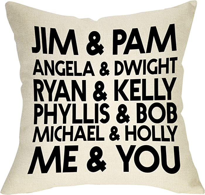 """Softxpp Jim & Pam The Office Funny Pillow Cover TV Show Lover Decor Lover Cushion Case Decorative for Sofa Couch 18"""" x 18"""" Inch Cotton Linen"""