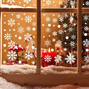 Boao 720 Pieces Christmas Snowflake Window Clings Christmas Window Stickers Snowflakes Decal clings Decoration for Winter Christmas Window Ornaments New Year Party Supplies, 14 Sheets