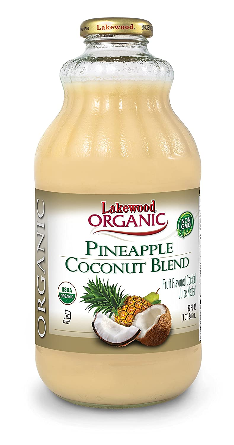 Lakewood Organic Pineapple Coconut, 32 Ounce (Pack of 6)