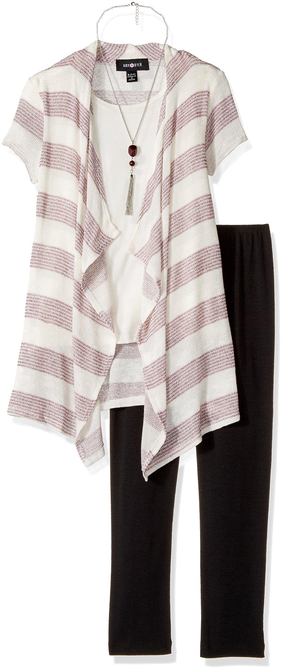 Amy Byer Big Girls' Stripe 2fer Cozy with Purse and Legging, Plum, L