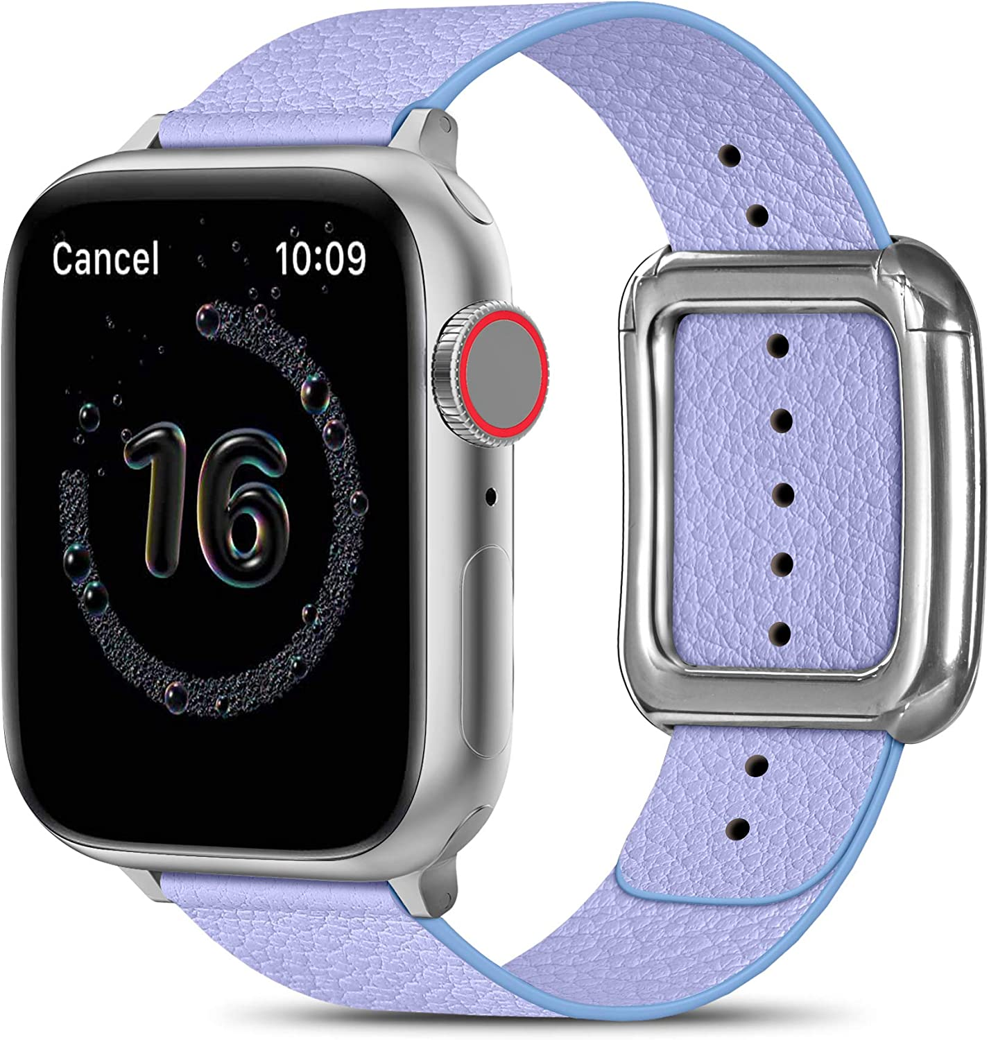 MARGE PLUS Compatible with Apple Watch Bands SE Series 6 5 4 40mm 44mm / Series 3 2 1 38mm 42mm for Men Women, Soft Leather Replacement with Magnetic Clasp for Apple Watch Band - Light Purple/Silver
