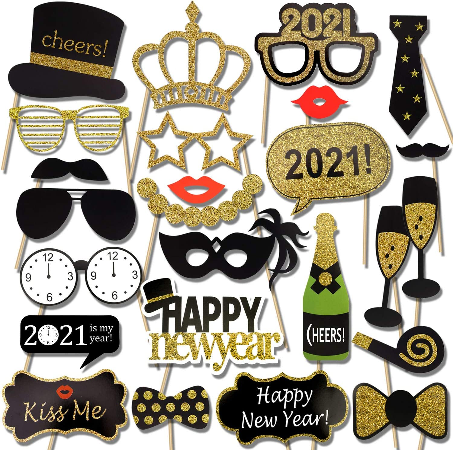 amazon com 2021 new years photo booth props kit 25pcs konsait funny new years eve party photo booth with stick for adult kids women man party accessories for 2021 new year party decor decoration 2021 new years photo booth props kit 25pcs konsait funny new years eve party photo booth with stick for adult kids women man party accessories for