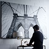 Large Brooklyn Bridge Picture with Frame Canvas Black and White 55 x 79 Inches Extra Large Wall Photo Art