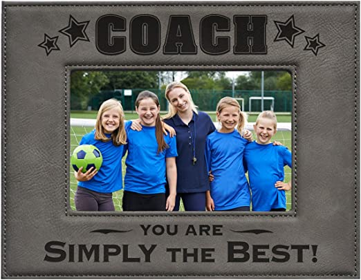Coach Picture Frame - Gray 5x7 Engraved Leatherette Picture Frame