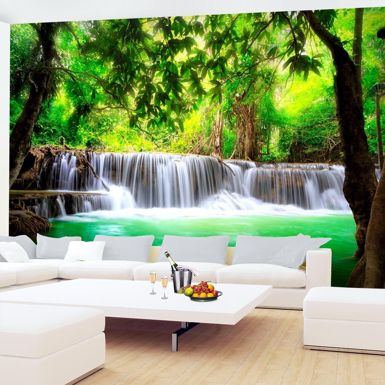 Papel Pintado Fotográfico Naturaleza de la cascada 352 x 250 cm Tipo Fleece no-trenzado Salón Dormitorio Despacho Pasillo Decoración murales decoración de ...