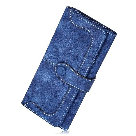 d9c7a69ae43db JMSIA Vintage-Ledertaschen Wildleder Tasche Damen Geldbörse Lang Damen  Portemonnaie (Blau)
