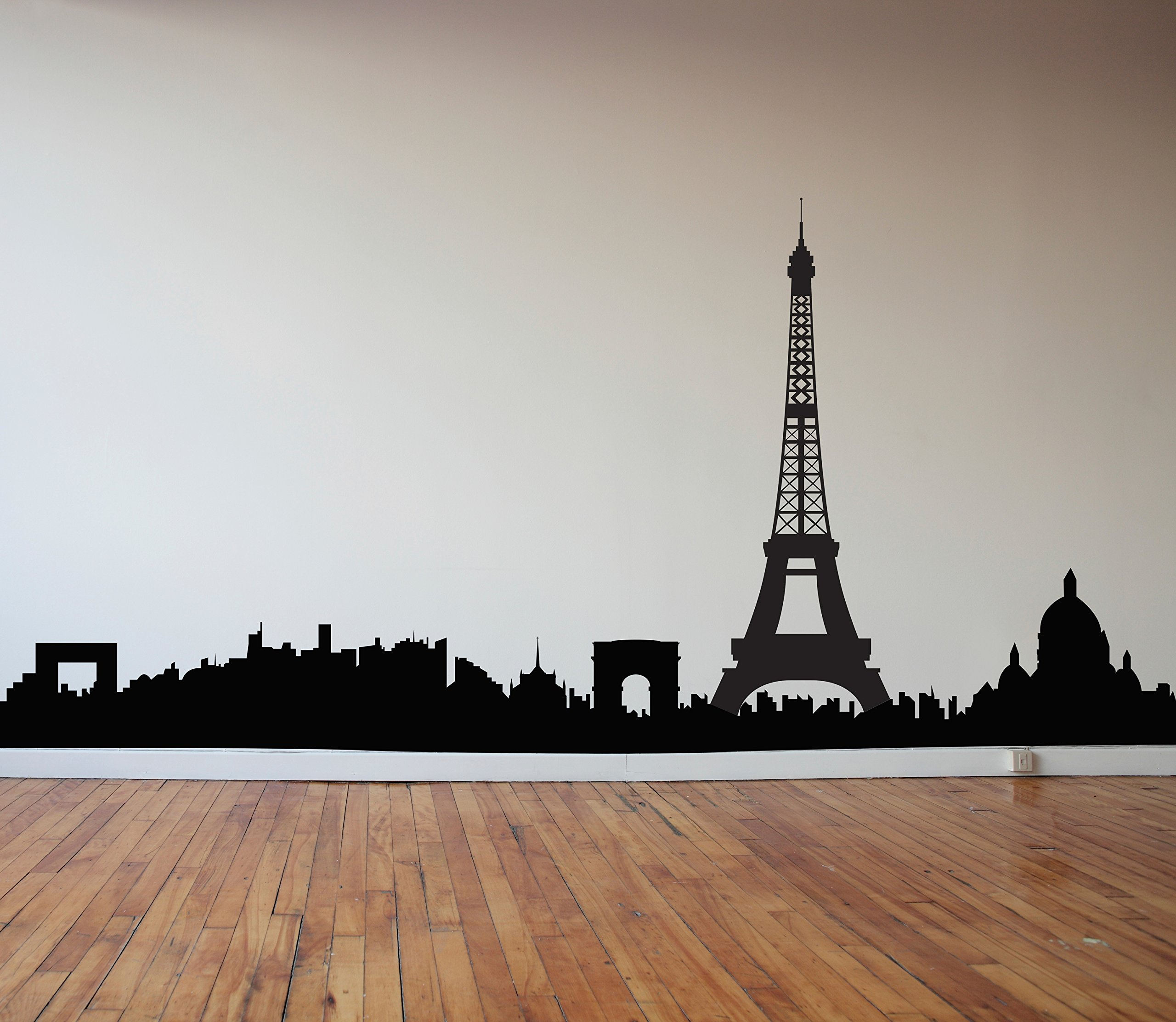 Paris Skyline with Eiffel Tower - Black - Vinyl Wall Art Decal for Homes, Offices, Kids Rooms, Nurseries, Schools, High Schools, Colleges, Universities, Interior Designers, Architects, Remodelers by Dana Decals (Image #1)