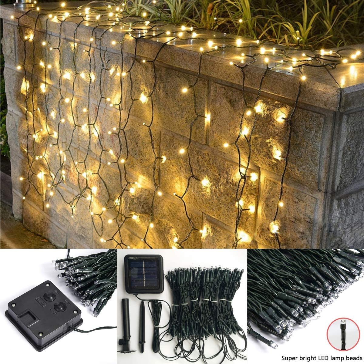 echosari Solar Outdoor Curtain Lights 13 3.3ft 200 LED 8 Modes Solar Powered Fence Backdrop LED String Lights for Garden, Patio, Home, Wedding, Party Outdoor Wall Decoration Warm White