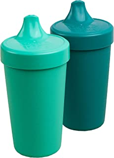 product image for Re-Play MADE IN USA 2pk Toddler Feeding No Spill Sippy Cups   1 Piece Silicone Easy Clean Valve   Eco Friendly Heavyweight Recycled Milk Jugs are Virtually Indestructible   Aqua, Teal