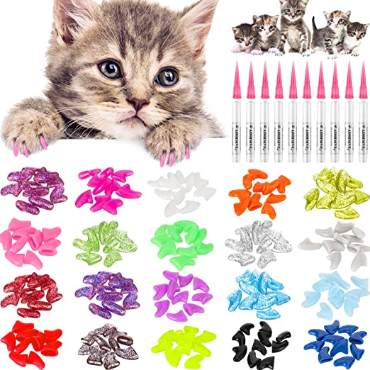 WILLBOND 200 Piezas Tapas de Uñas de Gato Coloridas Cubiertas de Garras Uñas Suaves de Gatos con 10 Piezas Pegamentos Adhesivos y 10 Piezas Aplicadores con Instrucción para Mascotas Gatos: Amazon.es: Productos