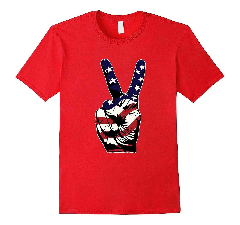 4th July Victory Hand Emoji American Flag T-Shirt-Vaci