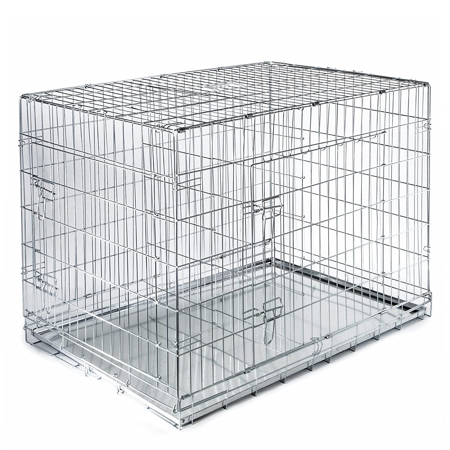 Amazon.com  SmithBuilt Folding Metal Dog Crate w/ Divider - Double Door Cage - 42  Length in Silver  Pet Crates  Pet Supplies  sc 1 st  Amazon.com & Amazon.com : SmithBuilt Folding Metal Dog Crate w/ Divider - Double ...