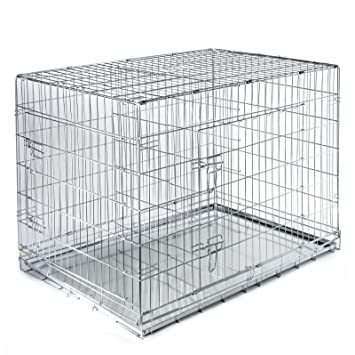 SmithBuilt Folding Metal Dog Crate W/ Divider   Double Door Cage   42u0026quot;  Length