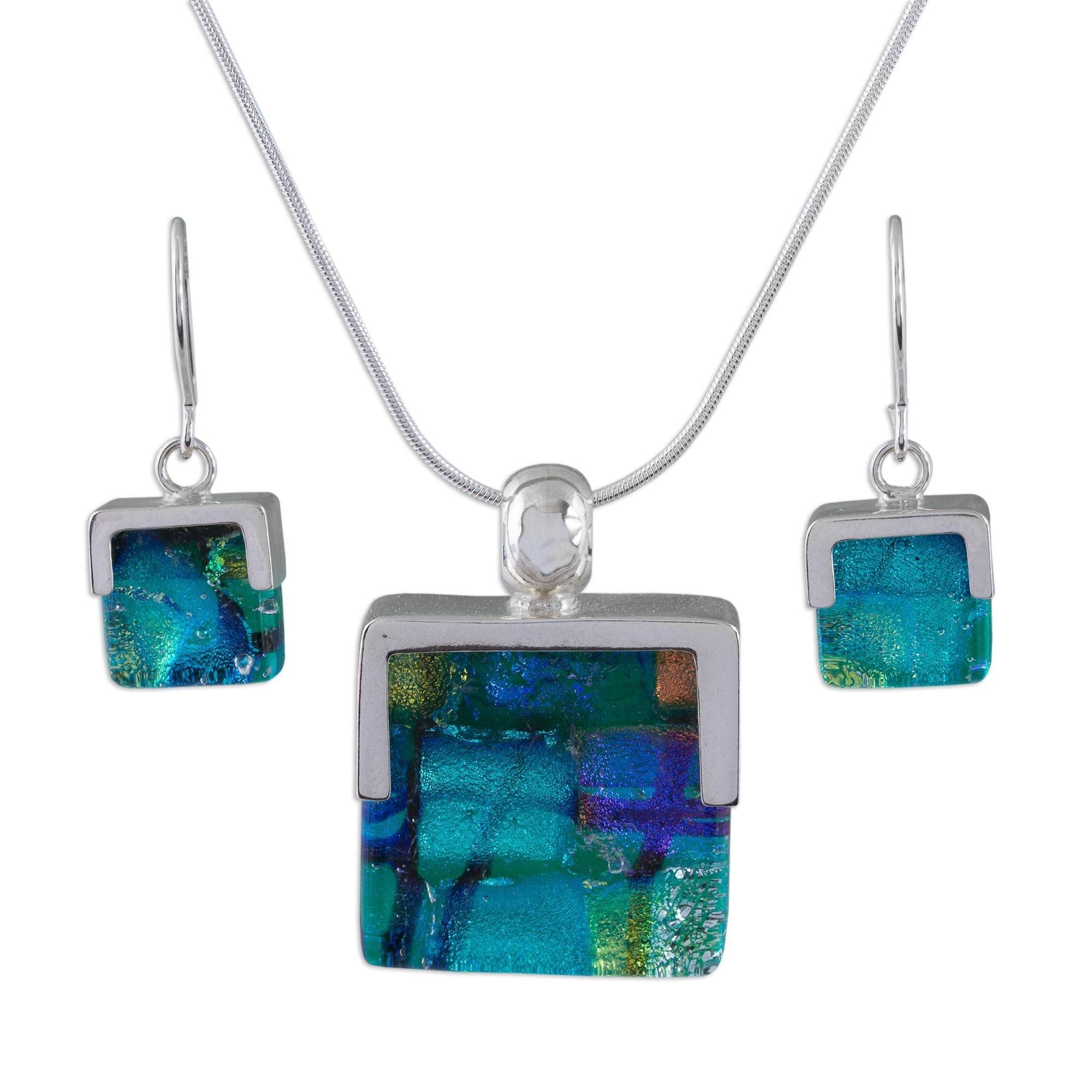 NOVICA .925 Sterling Silver Glass Jewelry Set 'Luminous'