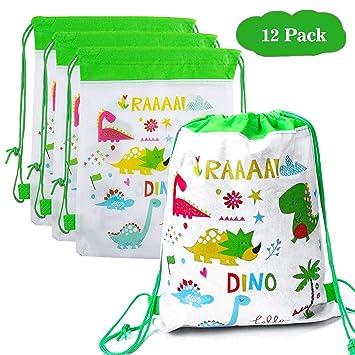 Happy Pig 12 Niños Party Bolsas, Regalo Bolsa de Cuerdas Dulces Backpack Bolsas Escolares para Niños Cumpleaños (Dinosaur)