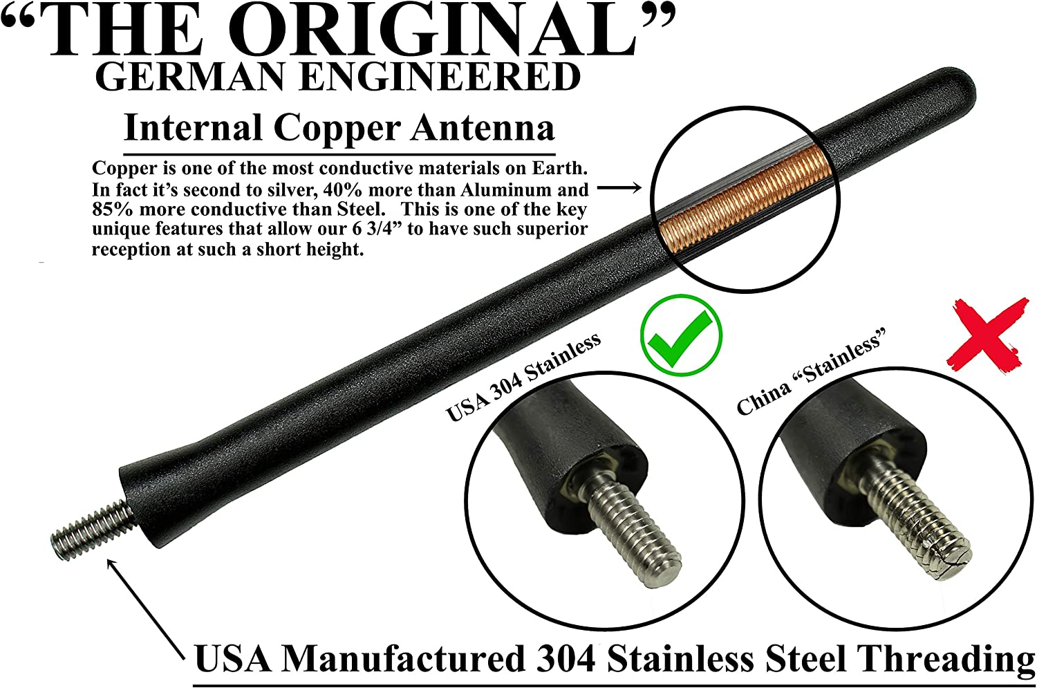 13 Inch All-Terrain Flexible Rubber Fender Antenna is Compatible with Hummer H2 - Spring Steel Internal Core 2003-2009 AntennaMastsRus