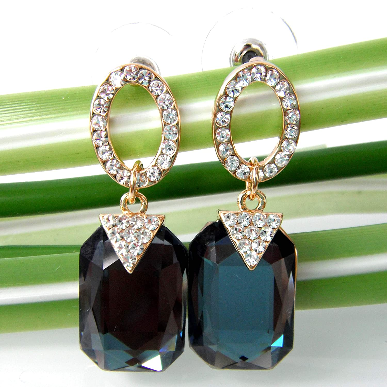Navachi 18k Gold Plated White Crystal Square Zircon Dangle Stud Earrings