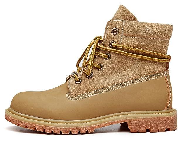 uBeauty Damen Desert Boots Leder Martin Stiefel Große Größe Leder Flache Boots Neue Populäre Frauen Stiefel Khaki 38 EU u5CpBdY6l