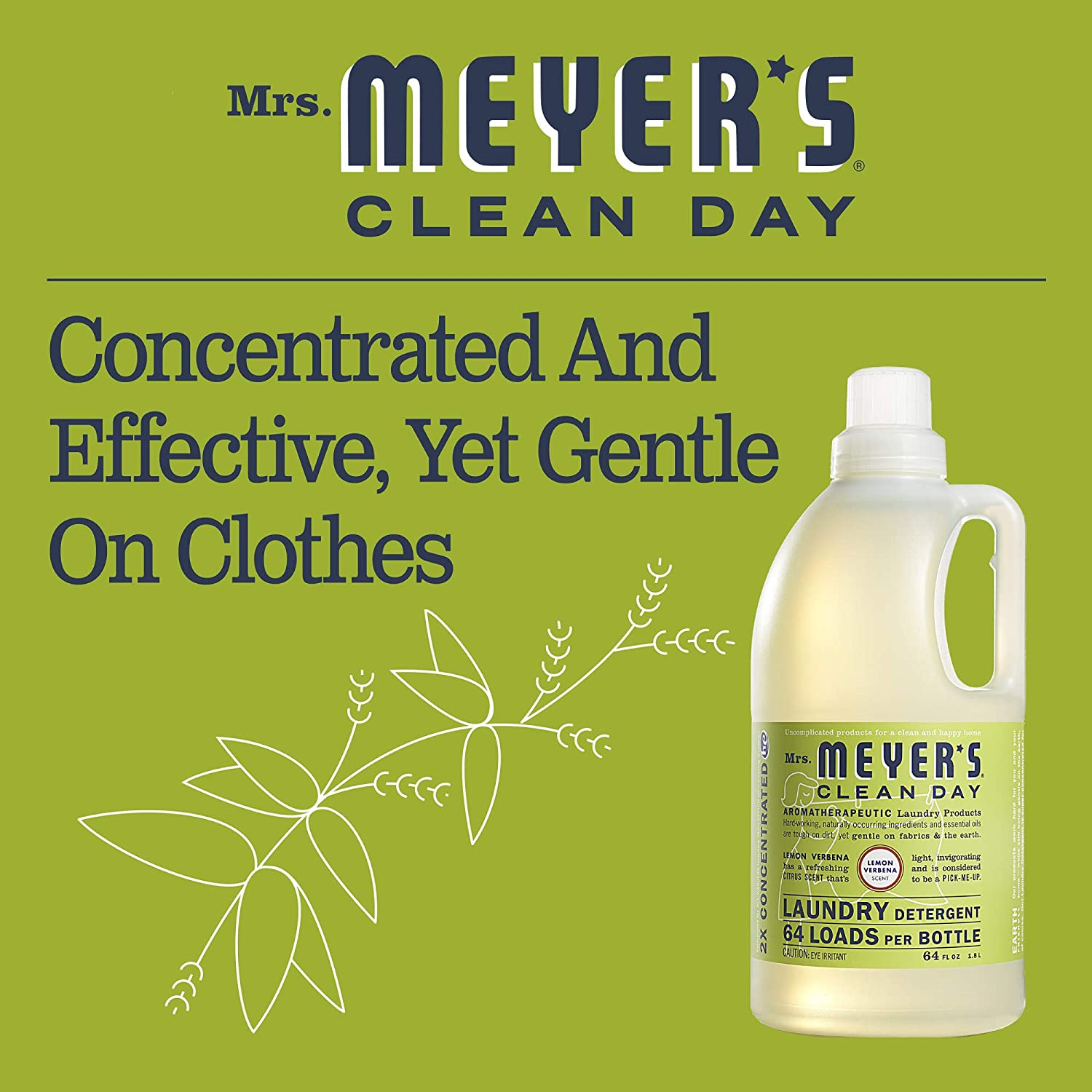 Mrs. Meyers Clean Day Laundry Detergent-Lemon Verbena - 64 Loads ...