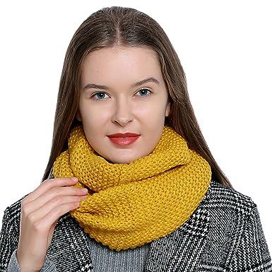 ed076d5bd5280 Bufanda de lana de invierno tipo cuello suave y cálida para mujer con  diseño de punto - Amarillo  Amazon.es  Ropa y accesorios