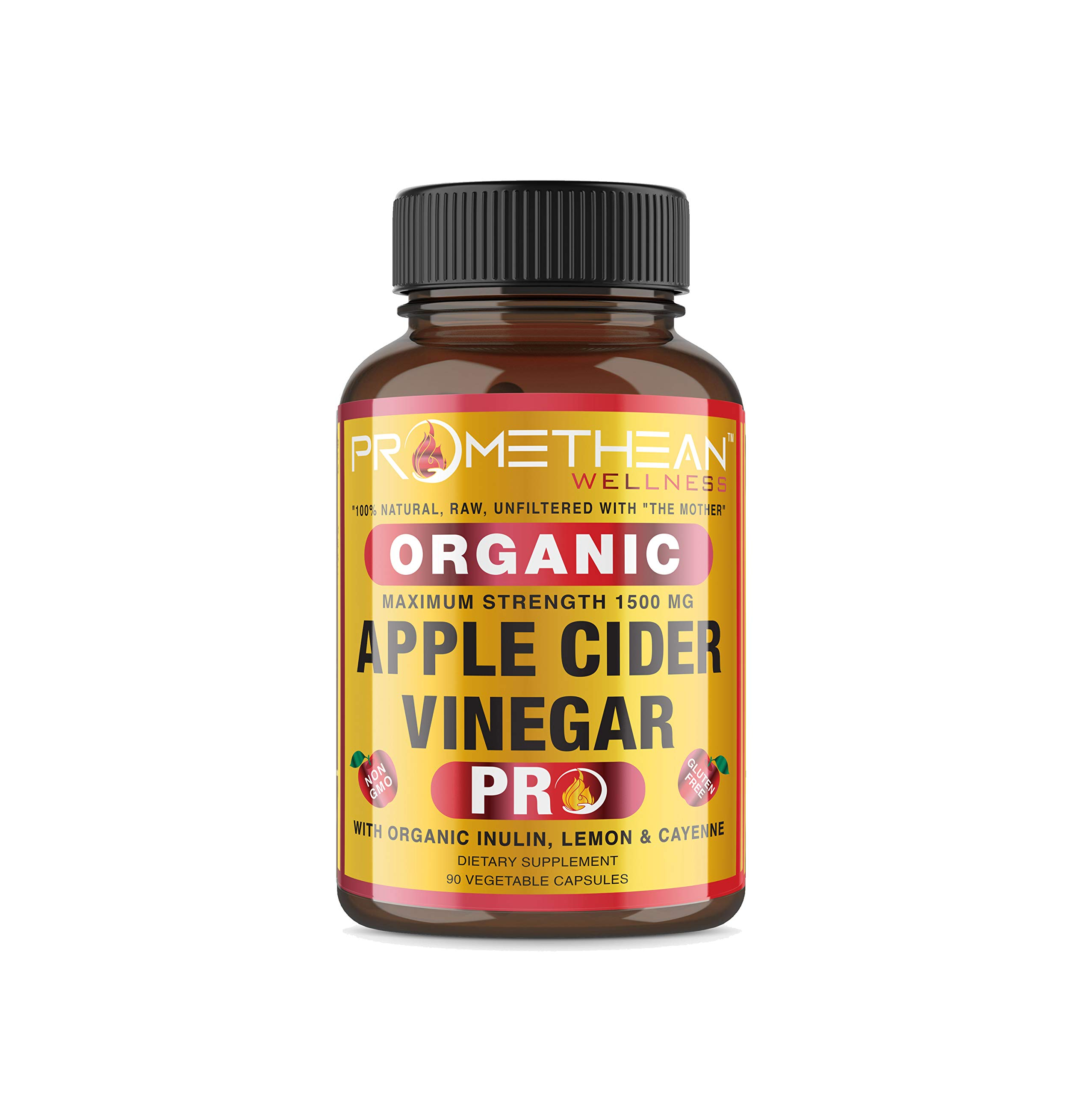 Organic Apple Cider Vinegar Capsules ACV PRO Diet Pills Detox Cleanse for Weight Loss Raw Unfiltered With Mother Powder Supplements Tablets Vitamins Cayenne Pepper Inulin Prebiotics Lemon 1500mg 90 ct by Promethean Wellness LLC (Image #7)