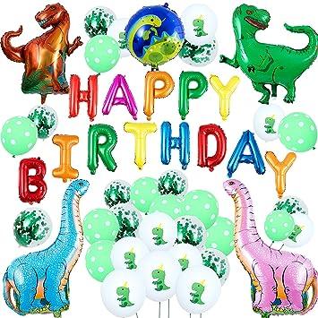 Remebe 48 Piezas Dinosaurio Decoración de Fiesta, Dinosaurio Selva Jurásico Globos de Fiesta Cumpleaños para niños