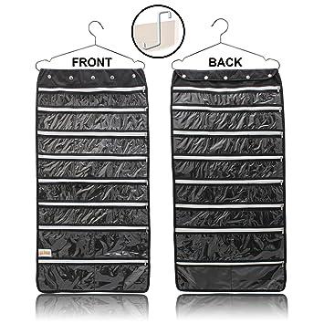 Amazoncom Hanging Jewelry Organizer 44 Zipper Pockets Hanger