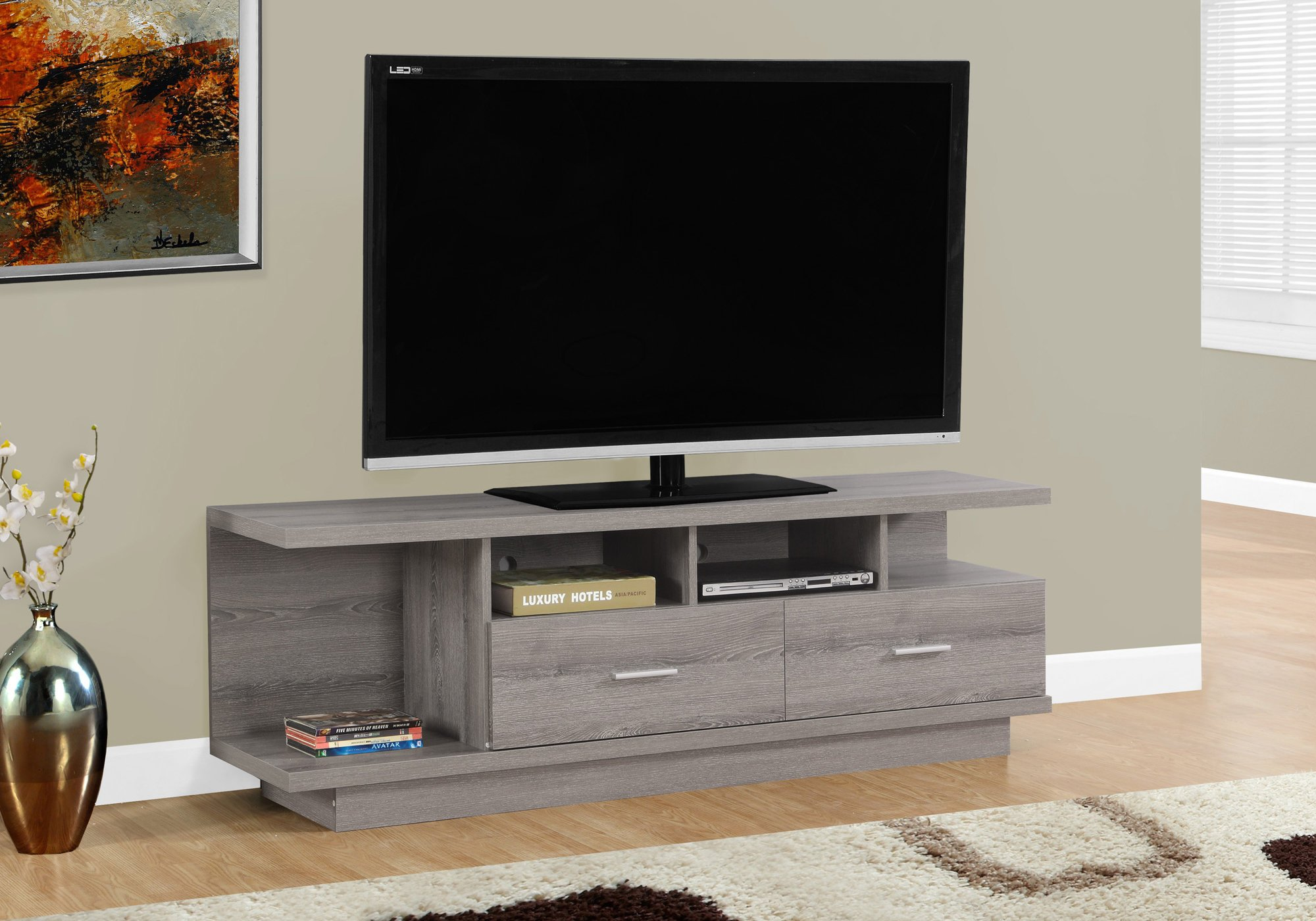 Monarch TV Stand with 2 Drawers, 60'', Dark Taupe by Monarch Specialties