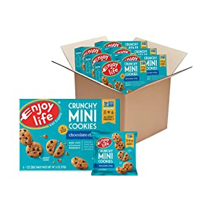 Enjoy Life Crunchy Mini Chocolate Chip Cookies, Nut Free Cookies, Dairy Free, Soy Free, Non GMO Mini Cookies, Vegan Chocolate Chip Cookies, 6 Boxes (6 Snack Packs Each)