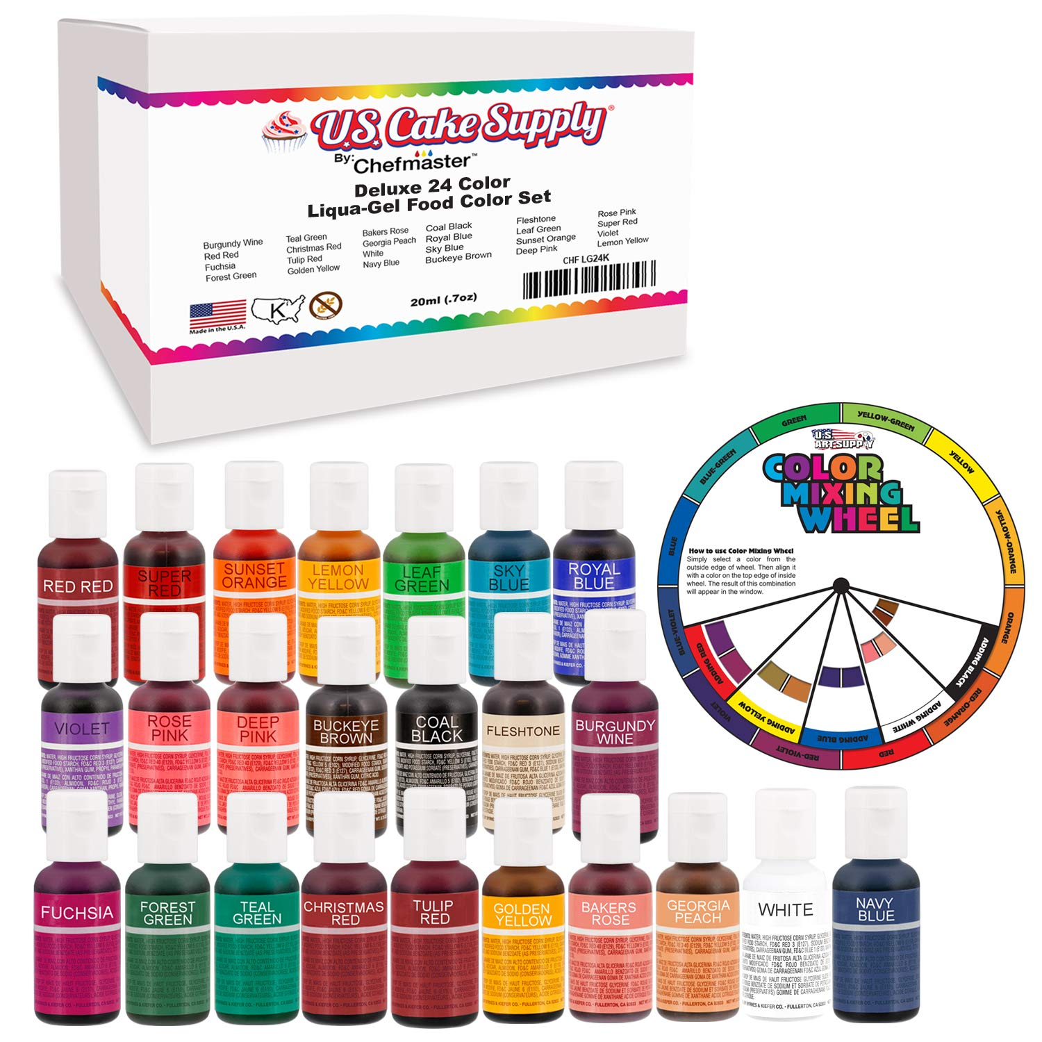 24 Color Cake Food Coloring Liqua-Gel Decorating Baking Primary & Secondary Colors Deluxe Set - U.S. Cake Supply 0.75 fl. oz. (20ml) Bottles - Made in the U.S.A.