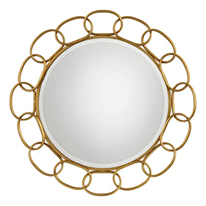 Amazon Com Gold Chain Link Iron Round Wall Mirror 35 Large