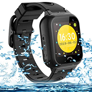 Vannico Smartwatch Niños,Reloj Niños Inteligente GPS 2G GPS/LBS Compatibles Micro Simyo Tarjeta Android iOS (Negro)