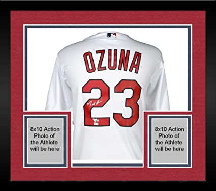 9724308fe Image Unavailable. Image not available for. Color  Framed Marcell Ozuna St. Louis  Cardinals Autographed Majestic White Replica ...