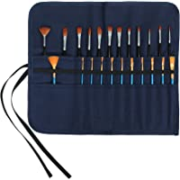Artist Paint Brushes Organize Pouch, 16 OZ Waxed Cotton Canvas Pencil Bag (Blue)
