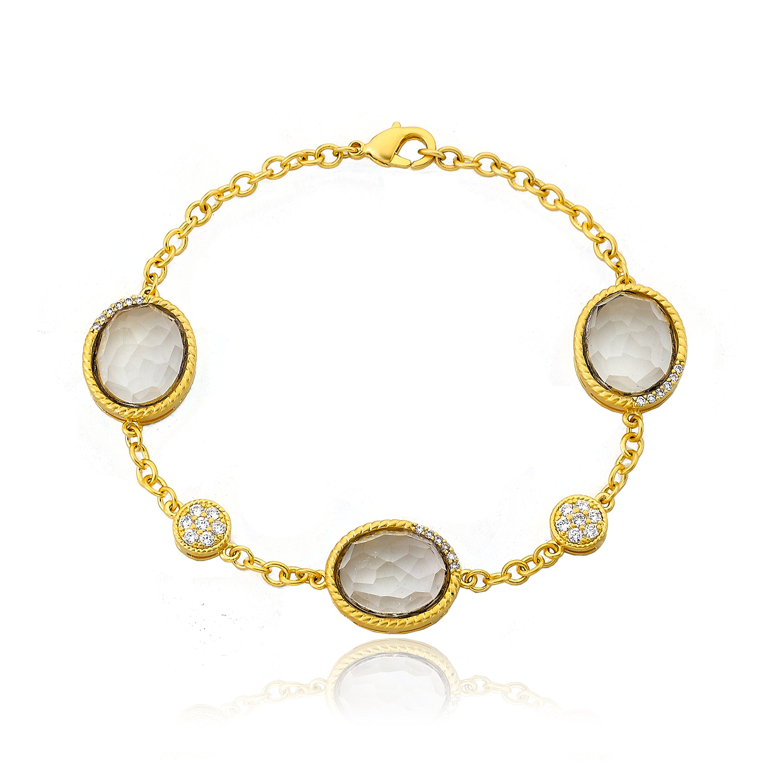 Riccova City Lights 14k Gold-Plated Cubic Zirconia & Faceted Glass Chain Bracelet/