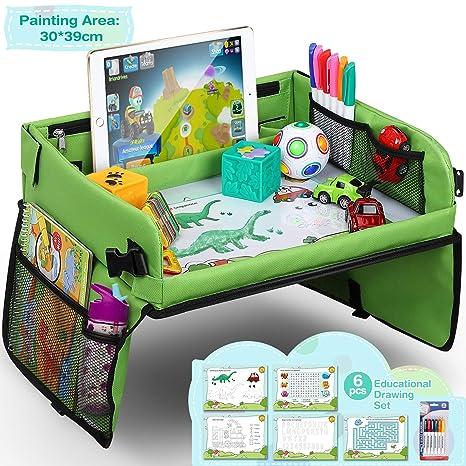 Mesa para Niños en la Asiento de Coche lenbest, Bandeja de Viaje Snack, Tablero Impermeable del Coche - 40x32 cm, Bandeja para Coche, Cochecito,Avión ...