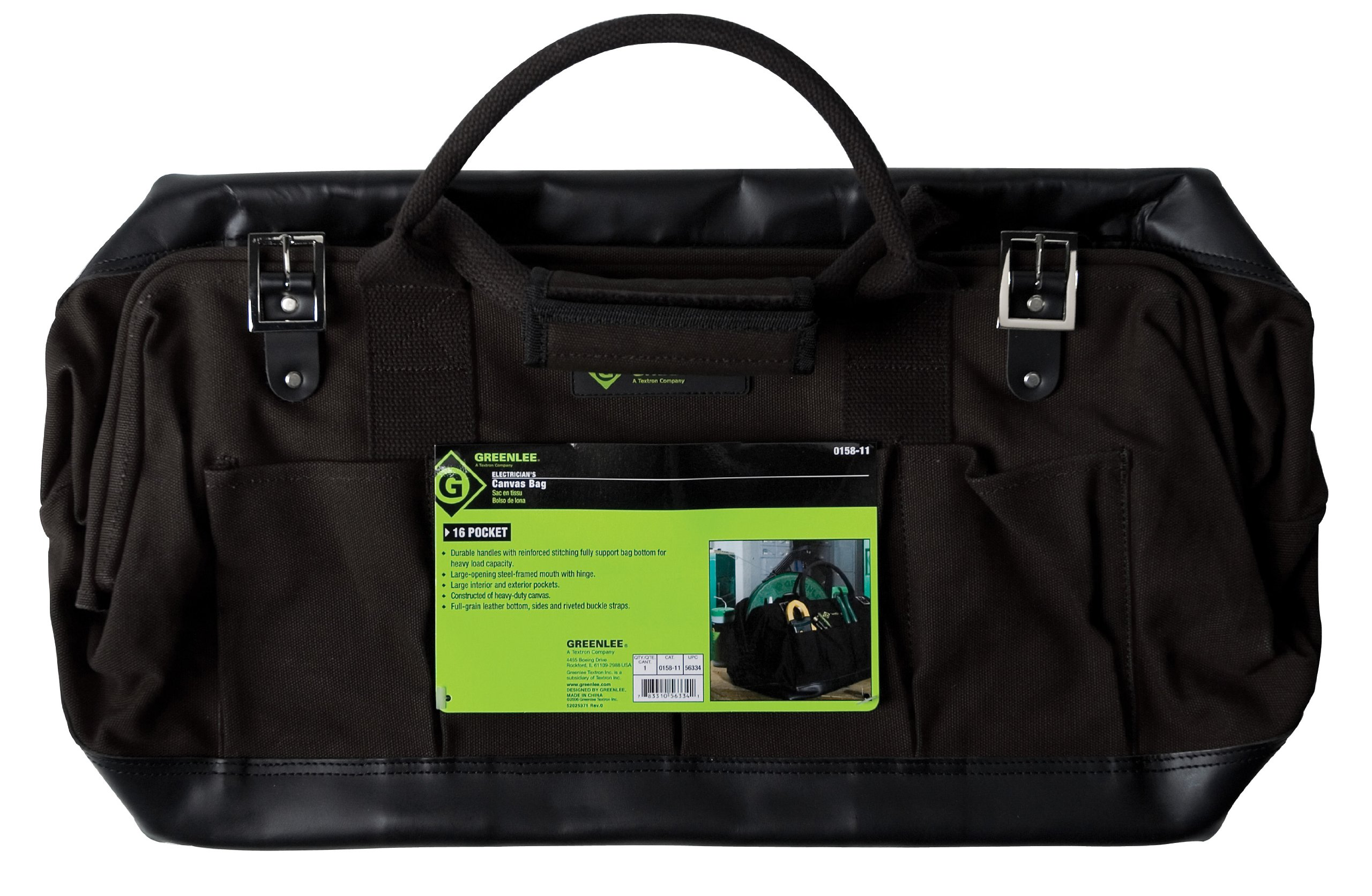 Greenlee 0158-11 Electrician's Canvas Bag, 20''