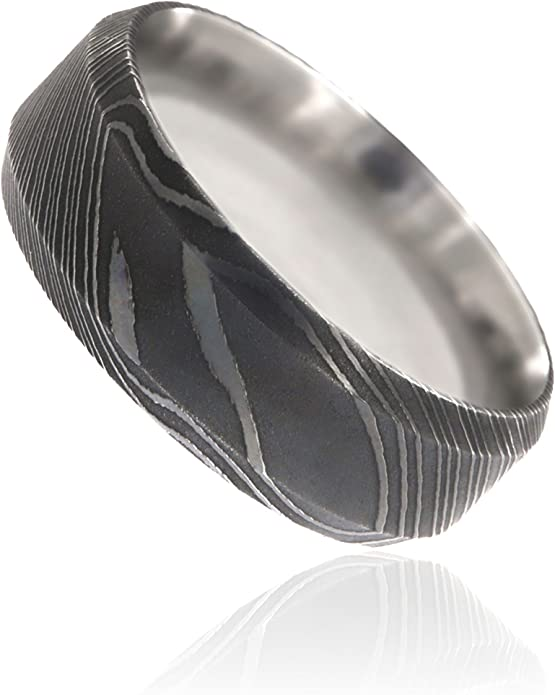Damascus Steel Silver and Black Wedding Band Compressed Metal Anniversary Forged Metal Ring Black and Silver Anniversary Black Steel Ring