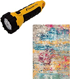 Toucan City LED Flashlight and Home Decorators Collection Monet Modern Multi 5 ft. x 8 ft. Area Rug KKCB54A-53077