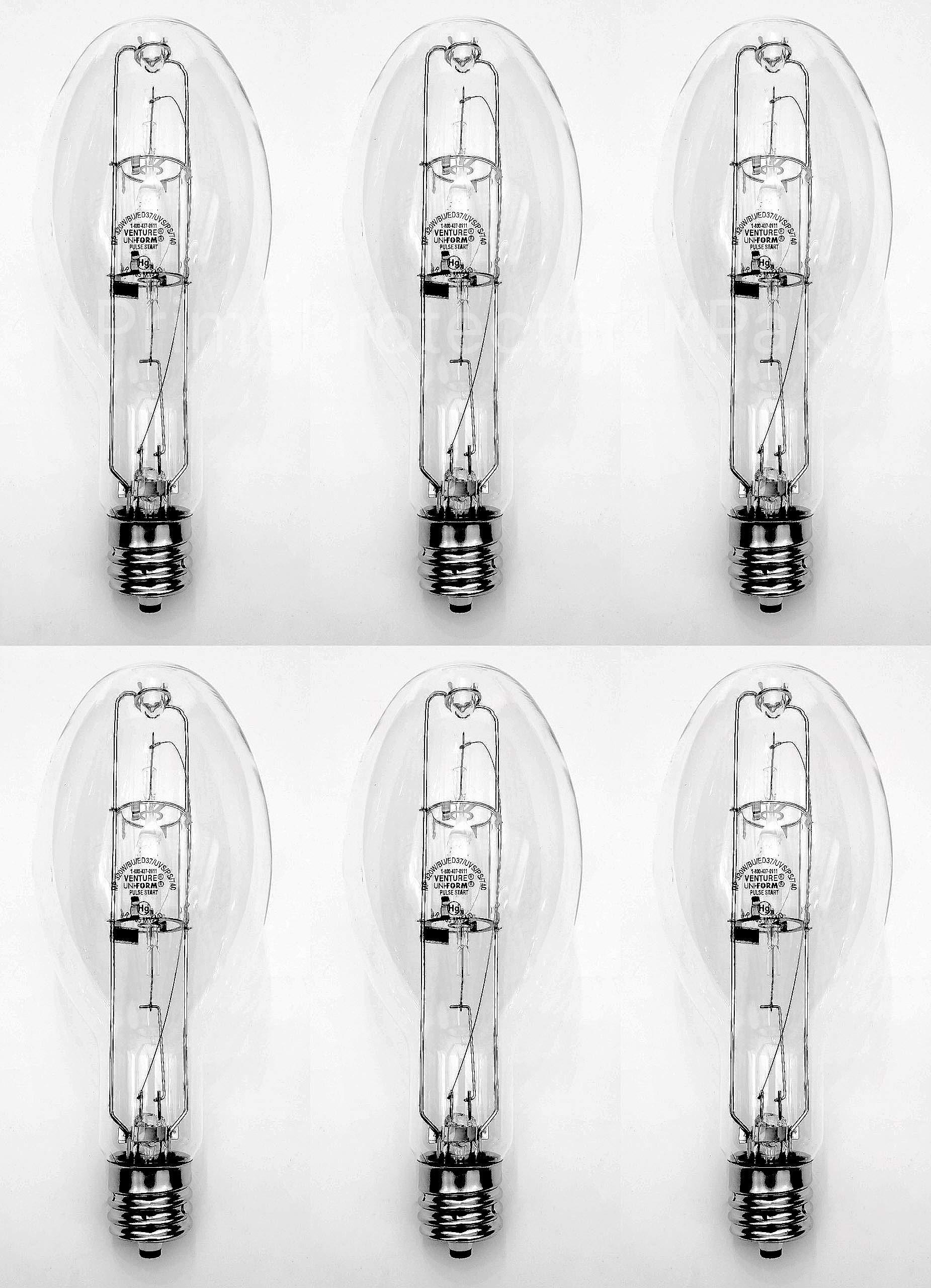 (6 Pack) GE CMH400/V/PA/O 400 Watt ED37 Pulse Start Metal Halide Lamp 400W Exclusionary Mogul EX39 Base MP400 Clear Bulb - ANSI M155 Replaces MP400/BU/PS MP400/BU MP400/ED37/PS/BU MS400/ED37/PS/U/4K