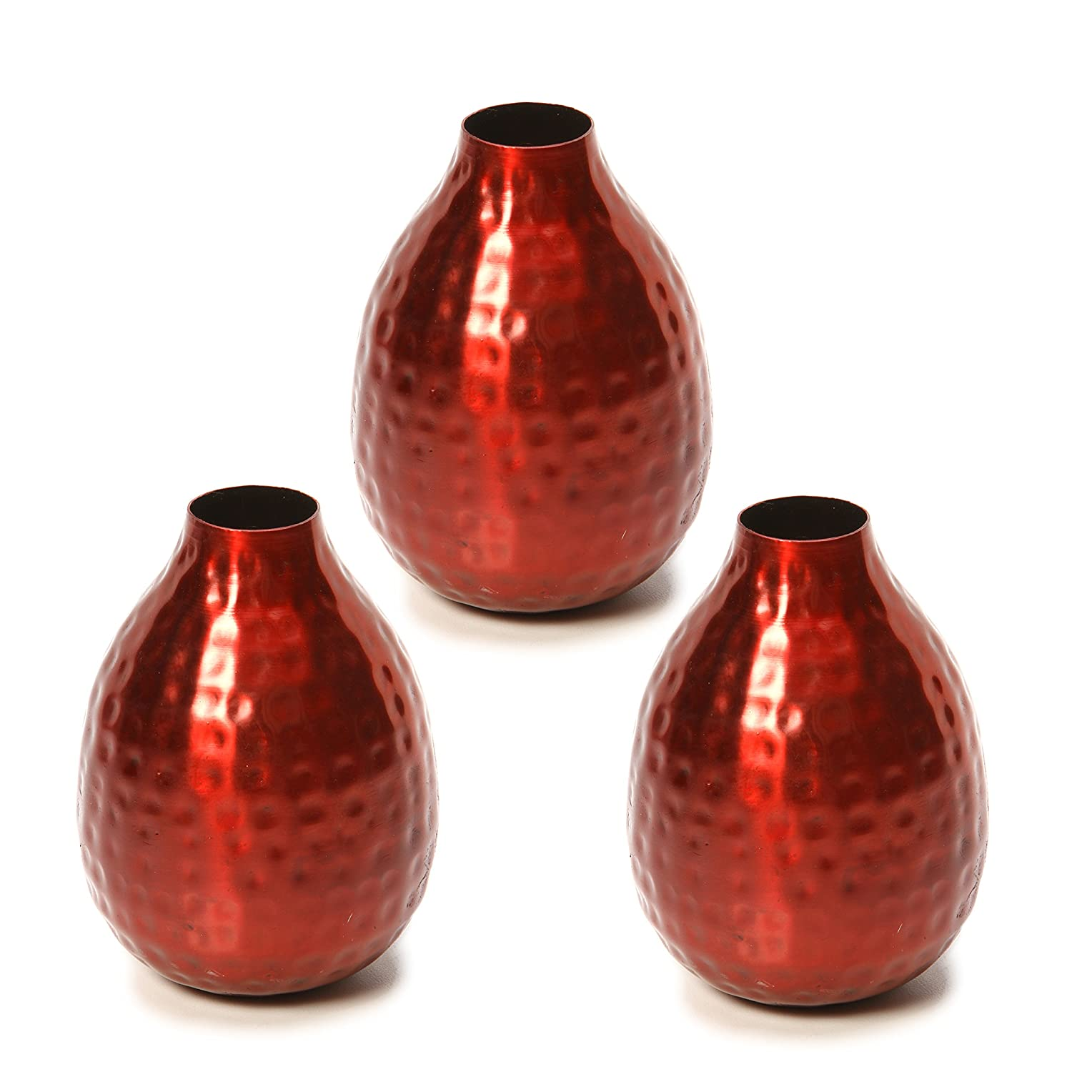 Hosley Set of 3 Metal Bud Vases - Your Choice of Colors. 4.5 Inch High. Ideal Accent Piece for Coffee and Side Tables as Well as Dried Floral Arrangements (2-Red Finish)