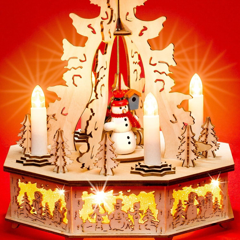 Sikora P31 LED Holz Weihnachtspyramide mit elektrischem Antrieb und Beleuchteten Kerzen und Sockel H 32,5 cm Farbe//Modell:Motiv Waldszene mit geschnitzten Rehen