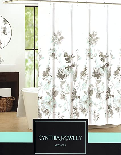 Amazon.com: Cynthia Rowley Giacomo Cotton Fabric Shower Curtain ...