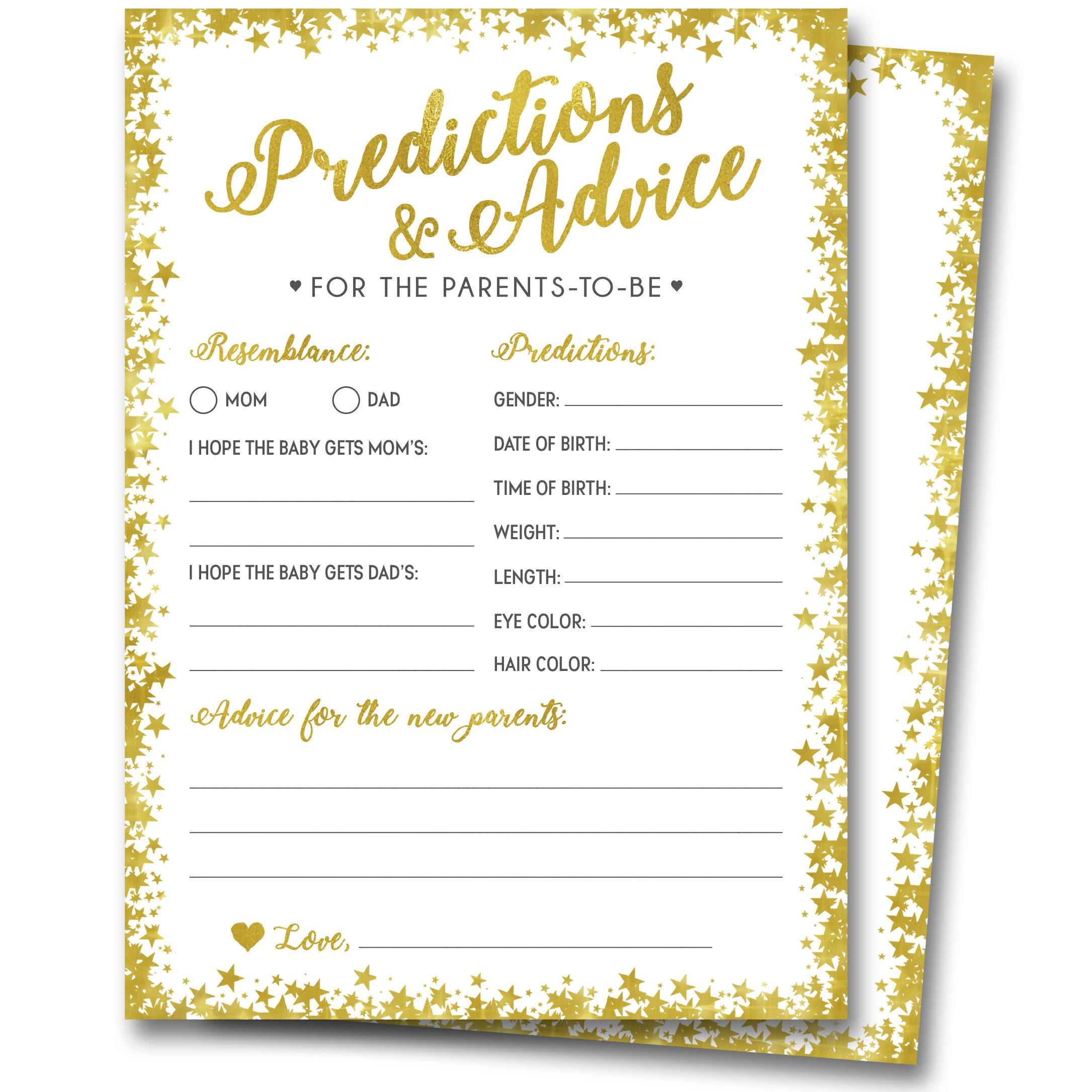 50 Gold Baby Shower Prediction and Advice Cards - Gender Neutral Boy or Girl, Baby Shower Games, Baby Shower Decorations, Baby Shower Favors