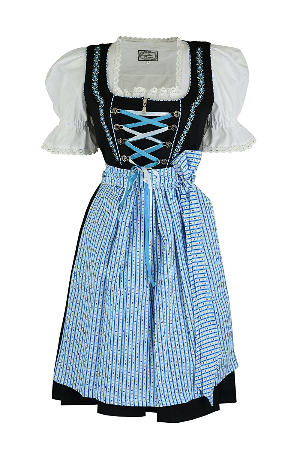 Tausendsch?n Dirndloutlet Black 3 Pieces Dirndl with Blouse and Skirt Light Blue