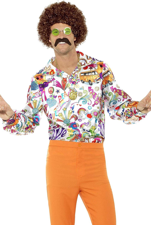 Smiffys-44910M Camisa buena onda años 60, para hombre, multicolor, M-Tamaño 38
